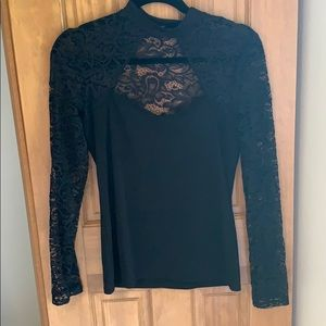 Express Black Lace Long Sleeve top